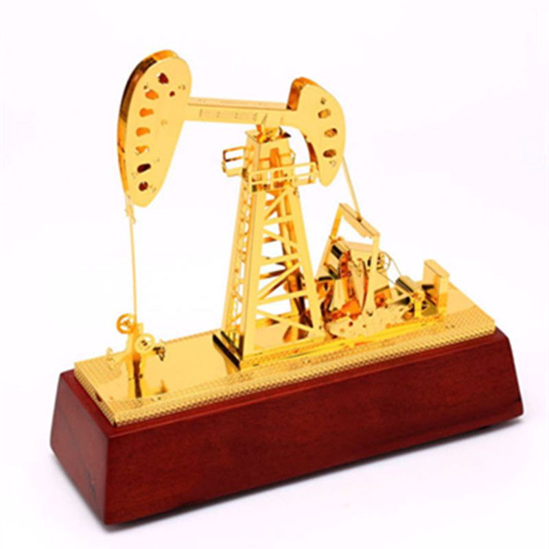 Ground Oil Machine Metal Oilfield Oil Extractor Pumping Unit Model Metal Crafts Engineering Building Decoration Gift