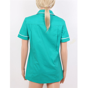 Image 3 - Womens Healthcare Tunic Turn down Collar Short Sleeves Button Down Cares Therapist Dentist Workwear Uniform Tops