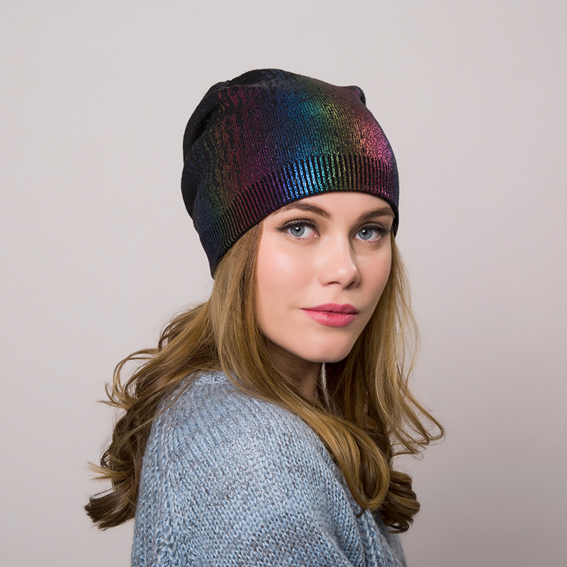 New Bronzing Beanie For Women Casual Cashmere Metallic Color Slouchy Beanies For Ladies Printing Women Hat Winter Dropshipping