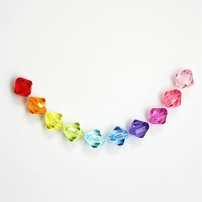 Small Transparent Children DIY Rhombus Acrylic Color Crystal Beads Toy 10mm About 80 10 Yuan