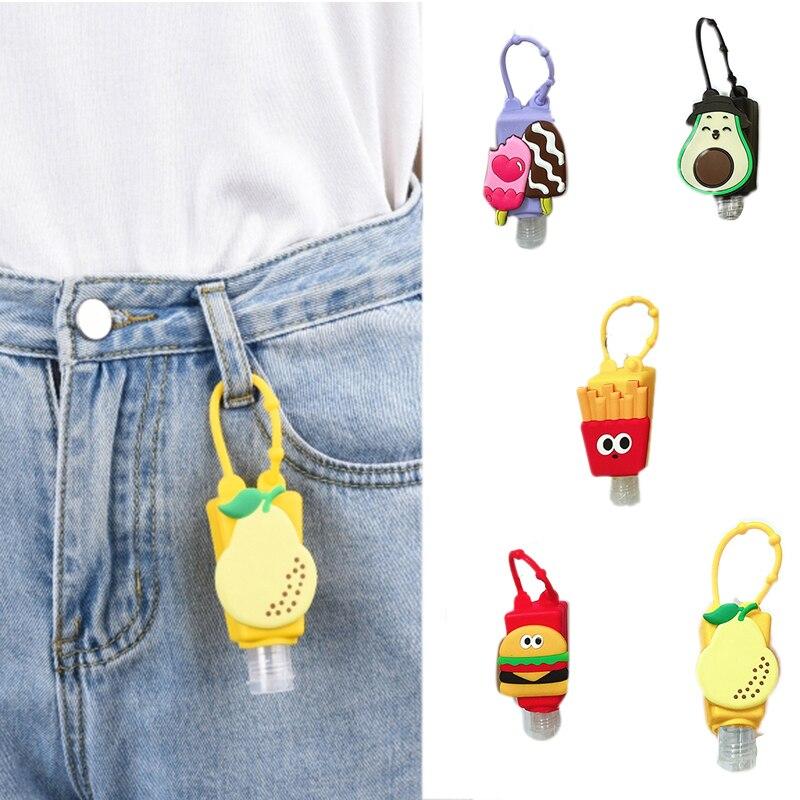 Funny Fruit Food Silicone Mini Hand Sanitizer Holder Travel Portable Safe Gel Holder Hangable Liquid Soap Dispenser Containers