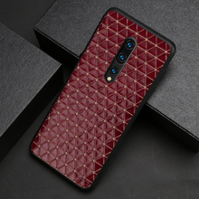 Genuine Leather Phone Case For Oneplus 8 7 7T Pro 6 6T Cowhide Triangle Business Texture Back Cover Funda Capa