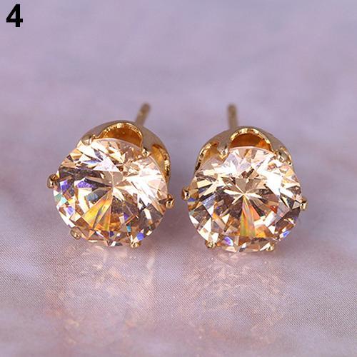 Unisex Women Stud Earrings Fashion Round Cubic Zirconia Golden Silver Alloy Ear Studs Earrings Aretes De Mujer серьги женские