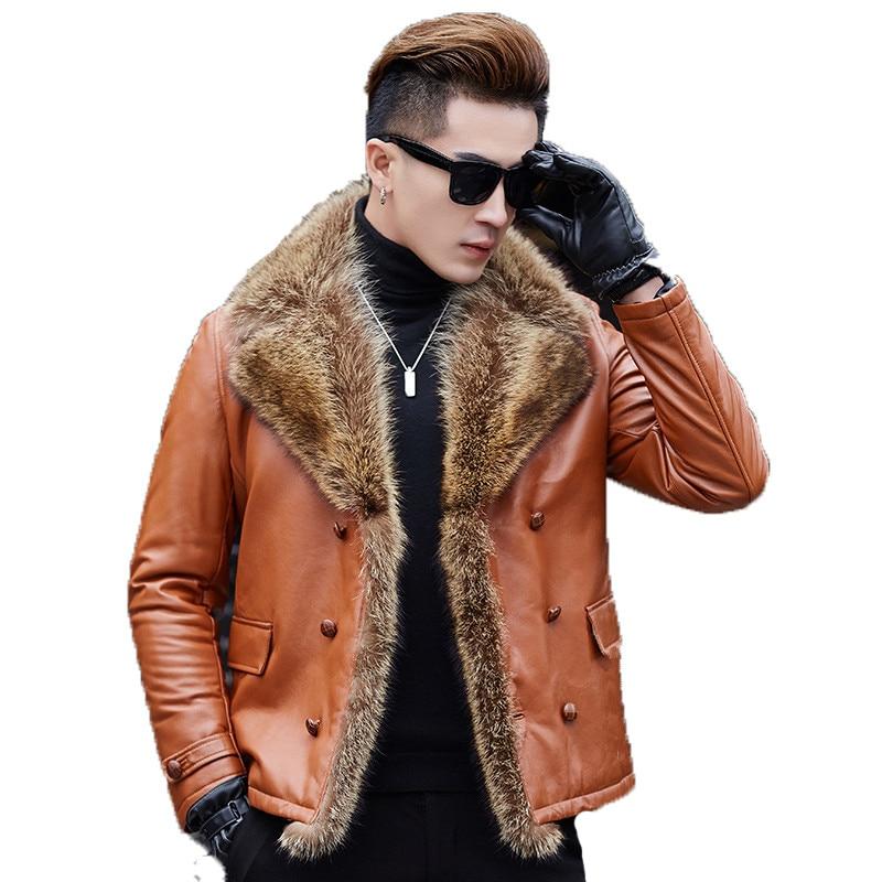 Genuine Leather Jacket Men's Winter Jacket Real Sheepskin Coat For Men Big Raccoon Fur Collar Warm Down Jackets MG-40-598 MY1875