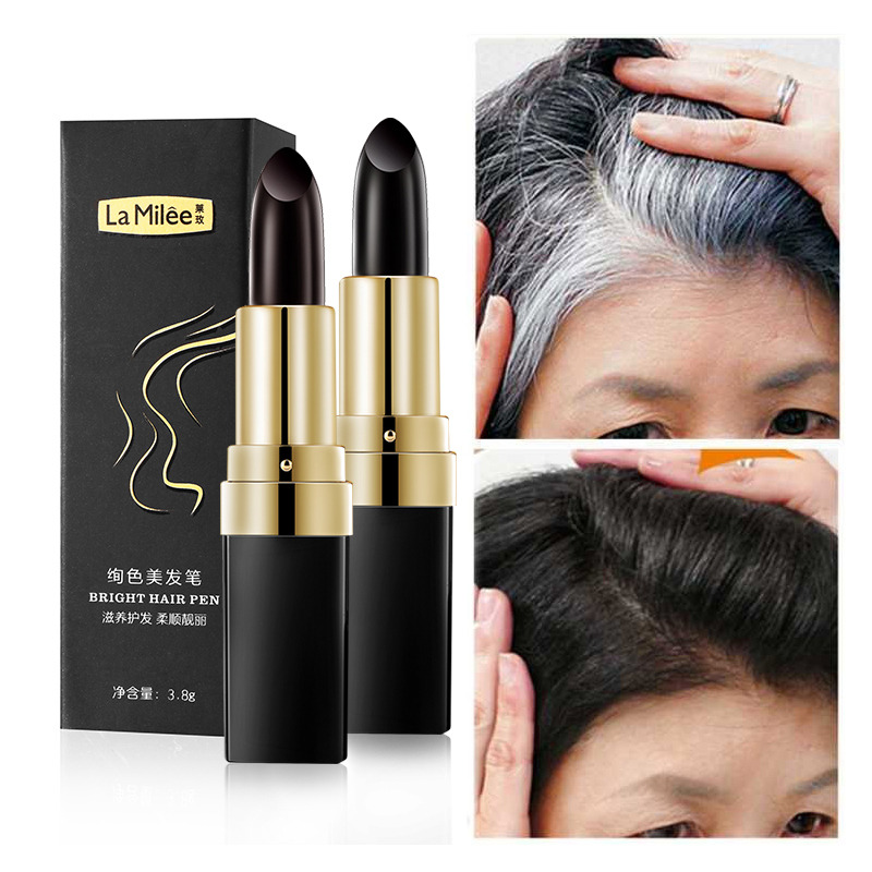 One-Time Hair dye Instant Gray Root Coverage Hair Color Modify Cream Stick Temporary Cover Up White Hair Colour Dye 3.8g image