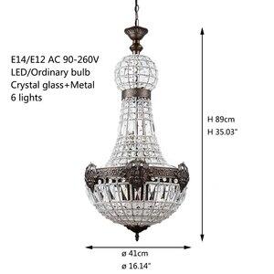Image 2 - Retro vintage grande estilo império francês redondo led e14 lustre de cristal moderno 6 luzes da lâmpada para sala estar do hotel lobby