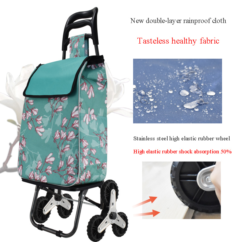New style portable waterproof shopping cart foldable grocery shopping trolley cart for the elderly climbing stairs trolley cart