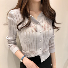 VICONE hollow out thin paragraph cardigan sweater pearl clasp temperament cultivate Shirt