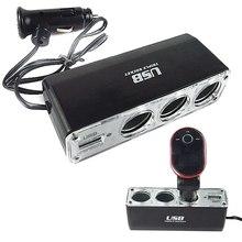 цена на Multi Socket 3 Way Auto Car Cigarette Lighter Splitter USB Plug Adapter Charger DC 12V/24V output Triple Adapter With USB Port