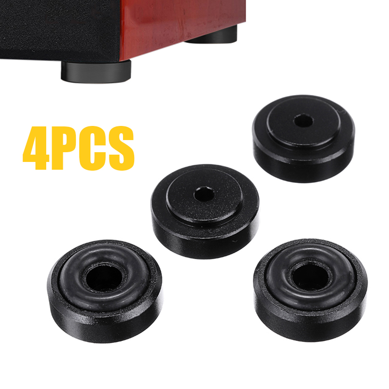 4pcs Black CD Player Feet Pad Shockproof Aluminum Speaker Mat Cabinet Isolation Base With Removable Non-slip Rubber Ring For AMP