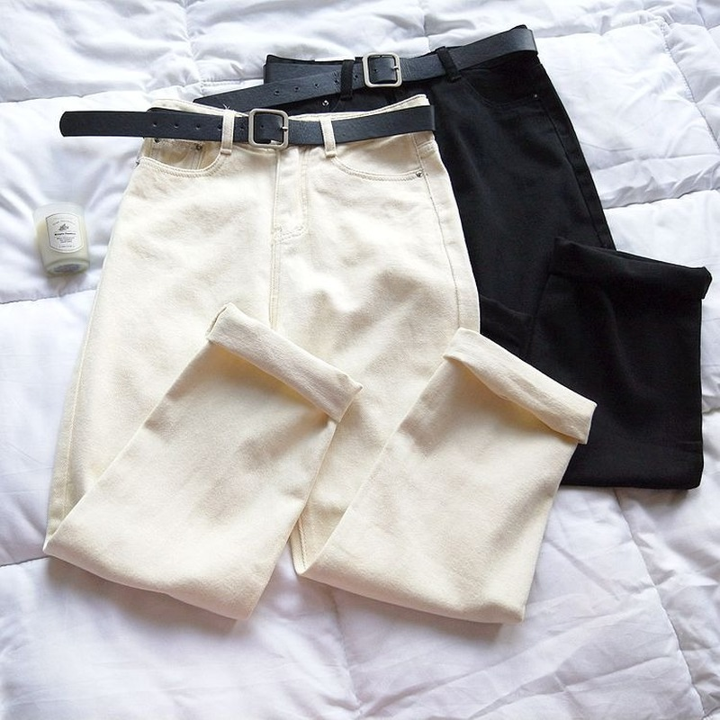 Beige White Straight Jeans Women's Autumn Wide Leg Pants Loose Streetwear High Waisted Jeans Skinny Leisure Apricot Pants (belt)