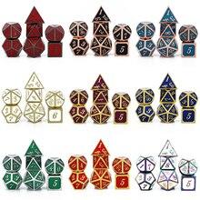 7 шт./компл. набор металлических игральных костей D & D D20 D12 D10 D % D8 D6 D4 для игры в кости DND RPG MTG настольные игры Кубики коробка для настольной игры...