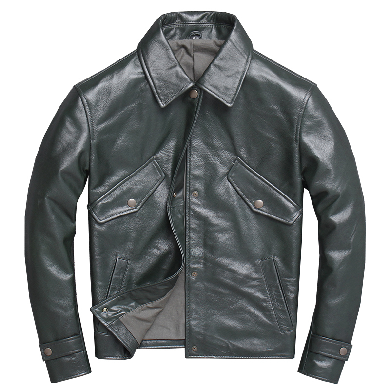 2020 Green Men Smart Casual Jacket Double POckets Plus Size XXXXL Genuine Cowhide Autumn Russian Leather Coat