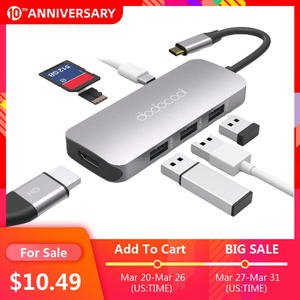 dodocool 7-in-1 Multifunction USB-C Hub with 4K HD Output SD/TF PD Charging 3 USB 3.0 Ports for MacBook for MacBook Pro and More(China)