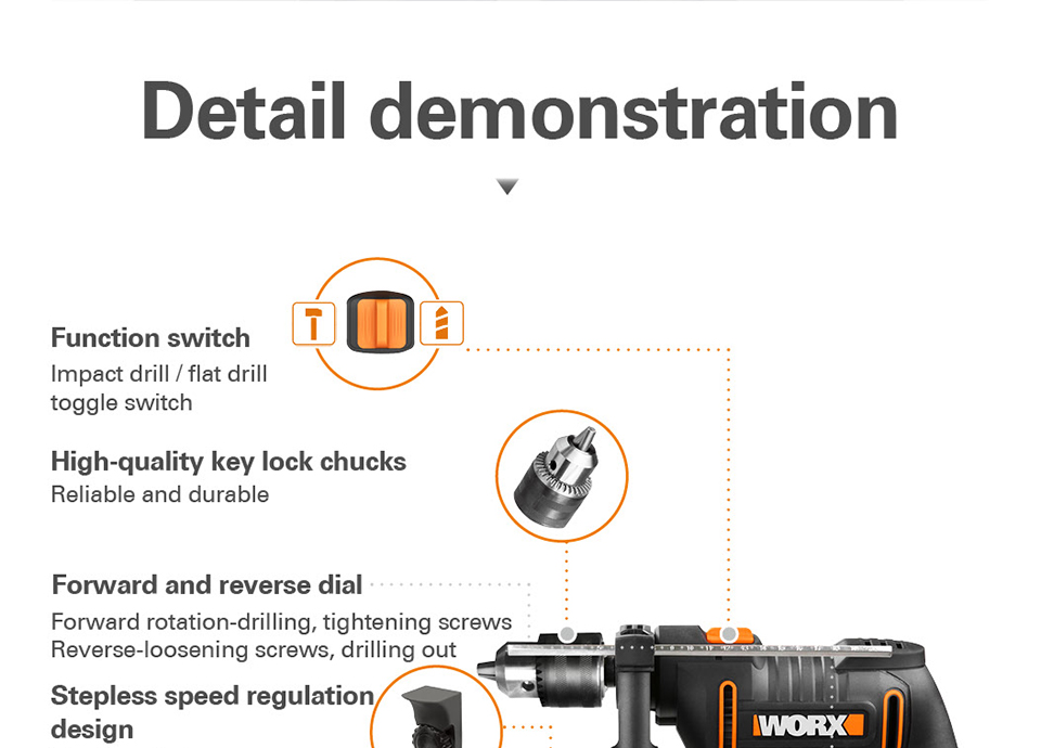 Worx 600W Impact Drill WX317.2 Electric Drilling Driver details