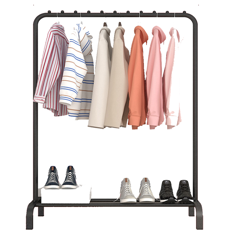 Actionclub Single Rod Drying Rack Floor Stand Drying Rack Simple Clothes Storage Shelf  Folding Indoor Balcony Clothes Racks