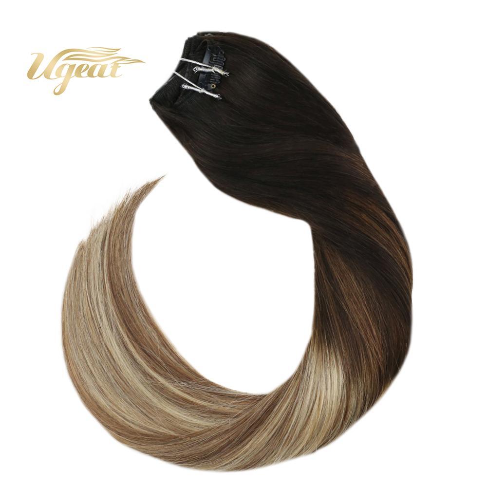 Ugeat Human Hair Clip In Extensions Full Head Hair Clip Ins Balayage Brown Color Hair Hair Pieces Hair 120G/10PCS Non-Remy Hair