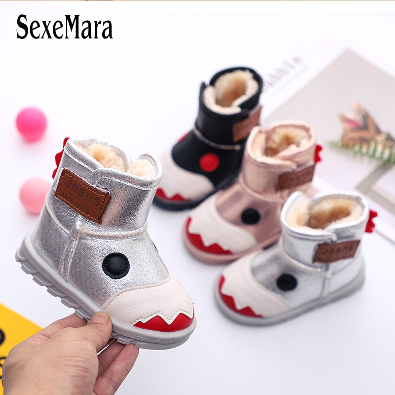 New Cartoon Pattern Cotton Shoes For Baby Children Ankle Boots Non-slip Kids Snow Boots Girl Boy Waterproof Shoes Toddler C09041