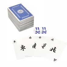 144Pcs/Set Mah Jong Paper Mahjong Chinese Playing Cards Game With 2Pcs Dices Portable Travel Entertainment Kit New