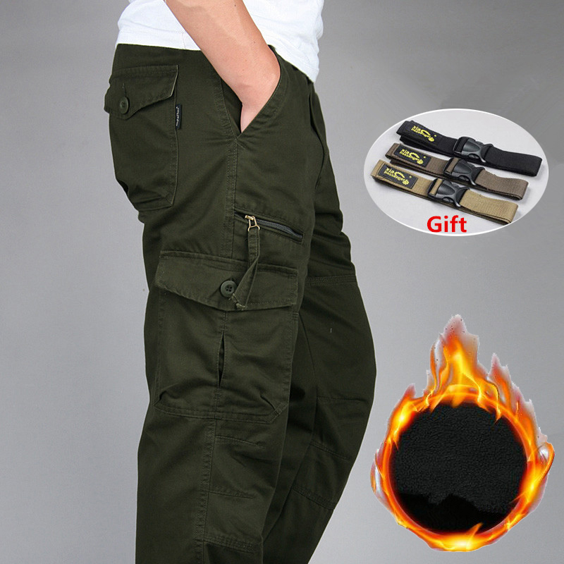 New 2019 Men's Winter Double Warm Casual Cargo Pants Male SWAT Army Combat Military Tactical Cotton Pants Work Long Trousers
