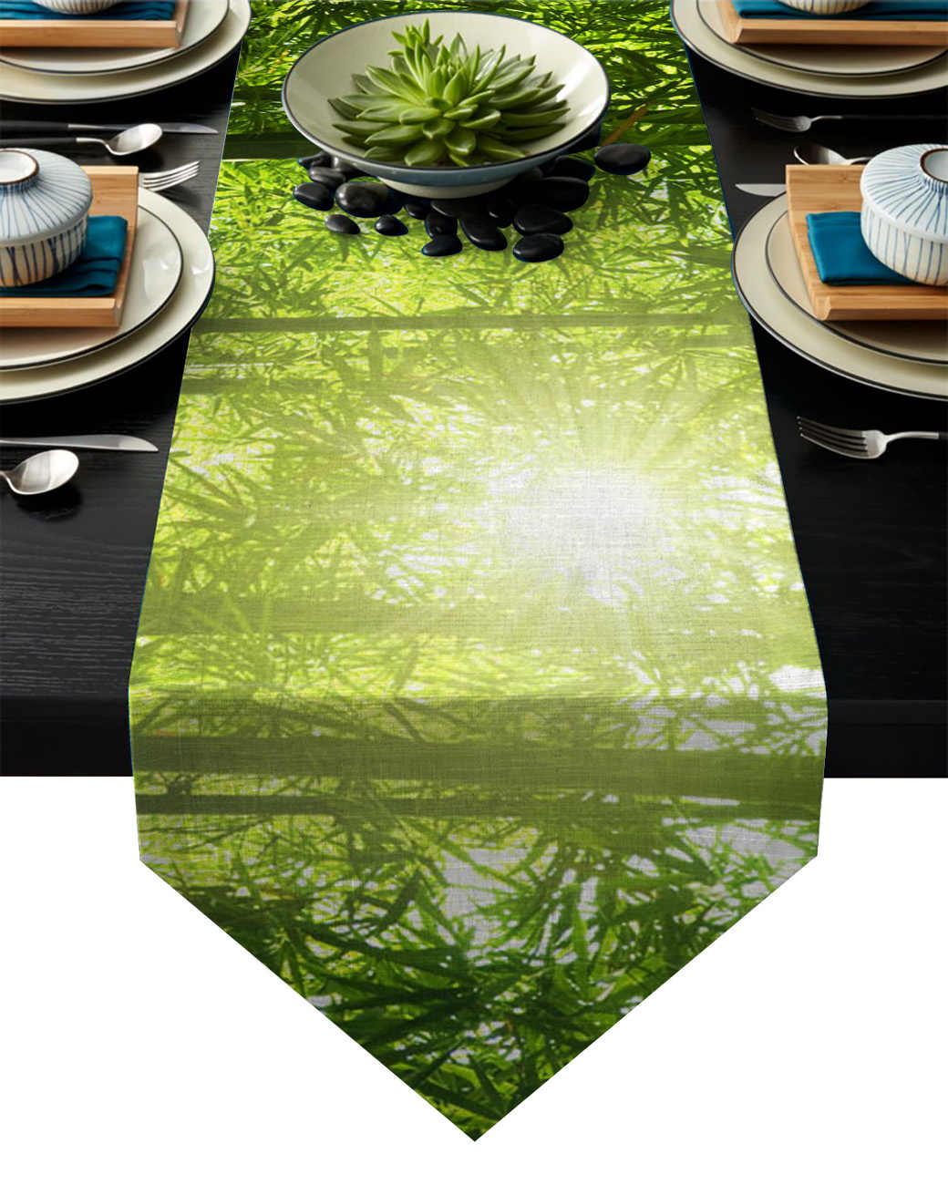 Green Bamboo Sun Plant Table Runner For Hotel Wedding Party Cake Floral Tablecloth Home Decoration Aliexpress