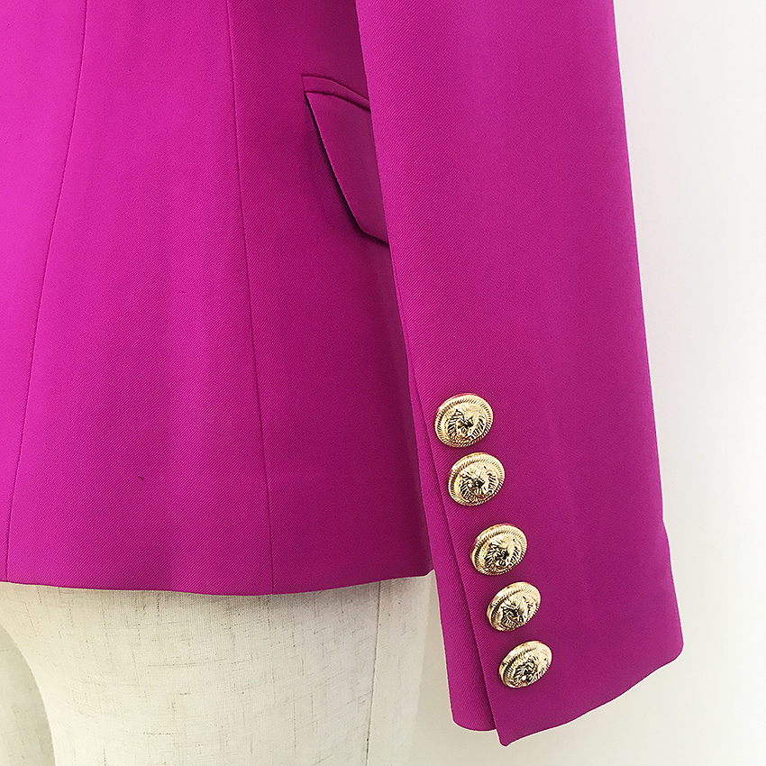 HIGH STREET 2020 New Designer Blazer Women s Double Breasted Lion Buttons Slim Fitting Gorgeous Purple