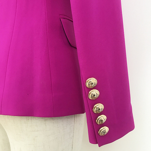 Image 5 - Yüksek sokak 2020 yeni tasarımcı Blazer kadın kruvaze aslan düğmeler Slim fit muhteşem mor Blazer ceket