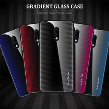 9H Tempered Glass Phone Case for Oneplus 7 Pro Gradient Luxury Back Cover One plus Shockproof Texture Shell