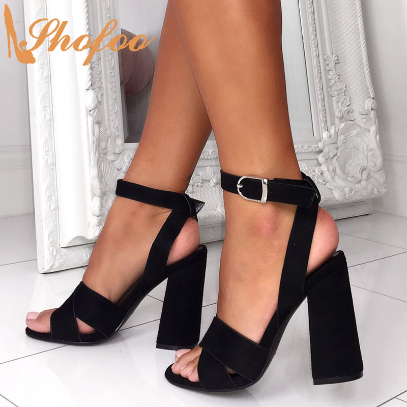 Black Flock High Chunky Heels Women Sandals Open Toe Buckle Ankle Strap Large Size 14 16 Ladies Summer Mature Sexy Shoes Shofoo