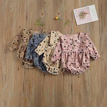 На возраст от 0 до 18 месяцев, милый комплект детской одежды для маленьких девочек с длинными рукавами и принтом вельветовые комбинезон для м...