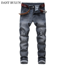 Men's Elastic Jeans Skinny Denim Pants Knee Ripped Destroyed Trousers Stretch Jeans Slim Fit Pencil Pants Black Fashion Jeans 2017 denim high elastic imitate jeans woman knee skinny pencil pants slim ripped boyfriend jeans for women blue ripped jeans