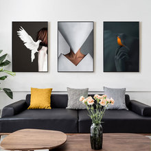 Black and White Bird Woman Fashion Wall Art Canvas Painting Art Print Nordic Poster Picture Wall Living Room Modern Home Decor wall art canvas painting classical famous abstract picture home decor nordic print black white poster painting for living room