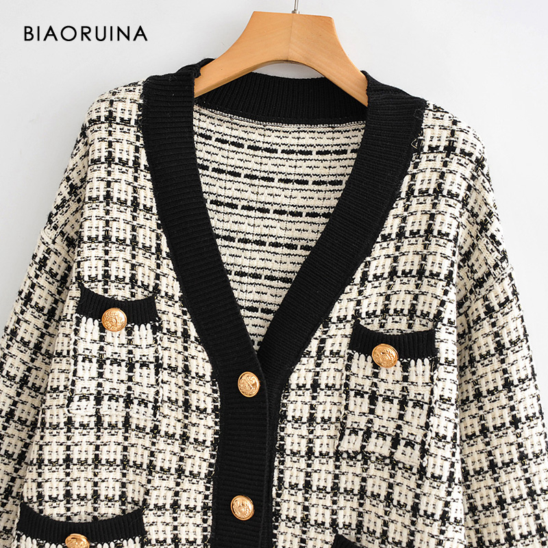 Image 3 - BIAORUINA Womens Fashion V neck Chic Single Breasted Knit  Cardigans Female Thick Keep Warm Swallow Gird Plaid Sweater  OuterwearCardigans