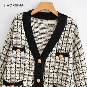Image 3 - Женский однобортный вязаный кардиган BIAORUINA, теплый толстый свитер в клетку с v образным вырезом и ласточкой, верхняя одежда