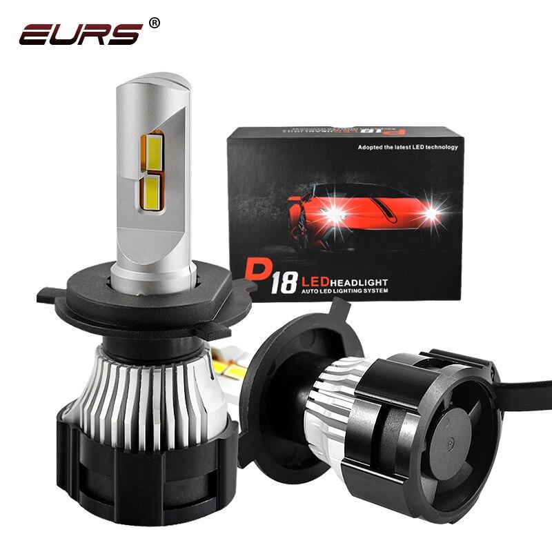 EURS P18 LED Lights H4 LED H7 H11 H8 HB4 HB3 9005 9006 9007 H13 Auto Car Headlight Bulbs H16 5202 P13W 52W 18000LM Auto Headlamp