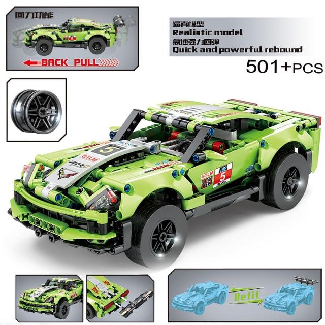 MOC 501pcs Classic City Pull Back Sports Racing Car Building Block Model High-Tech Vehicle Kid Toy Assembled DIY Bricks Gifts 1