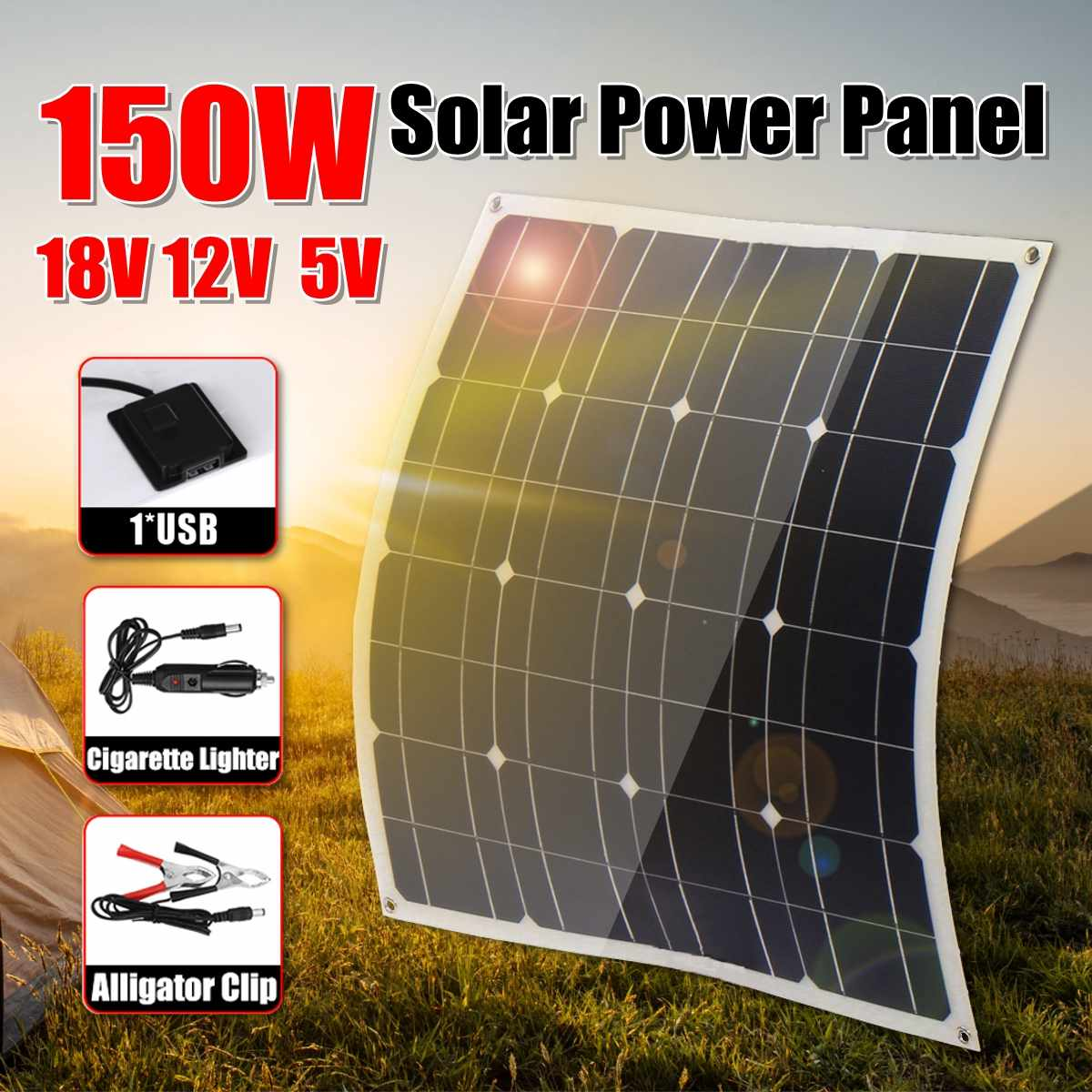 <font><b>150W</b></font> 18V Mono <font><b>Solar</b></font> <font><b>Panel</b></font> USB 12V/5V DC With 10/20/30A Controller Flexible <font><b>Solar</b></font> Charger For Car RV Boat Battery Waterproof image