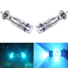 1 Pair Universal H1 8000K 100W LED 20-SMD Projector For Fog/ Driving lights/ Daytime Running Light DRL Light Bulbs DC10-24V 2019(China)