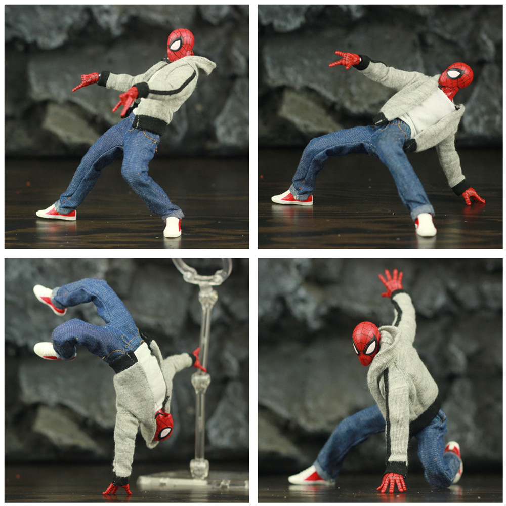 "Image 3 - Spider Man Peter Parker 6"" Action Figure Classic Cloth T shirt Jeans Stanley KOs Marvel Legends Comic Pizza Spiderman Toys DollAction & Toy Figures   -"