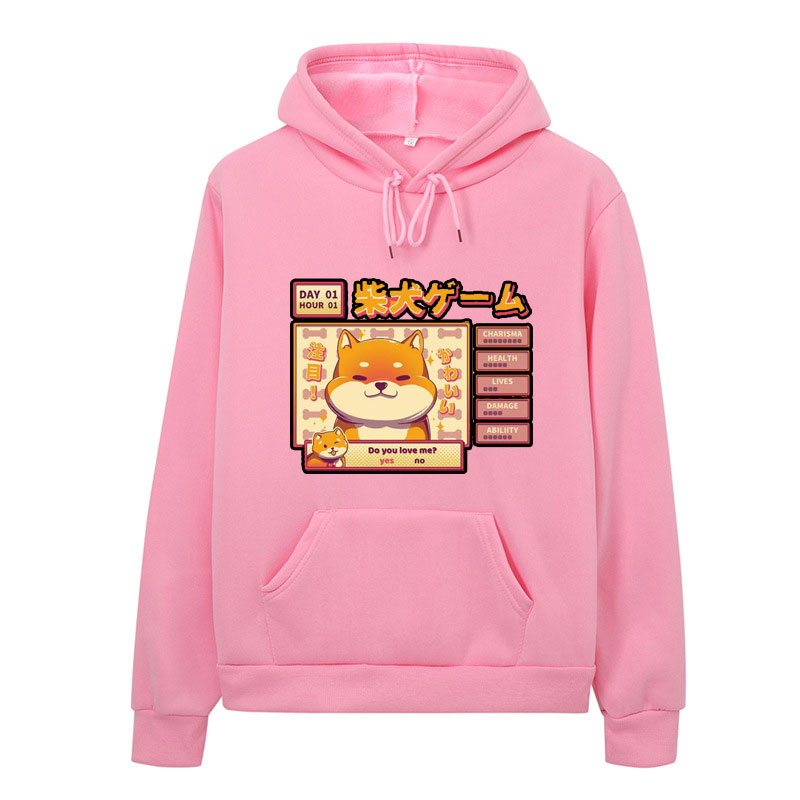 Women's Harajuku Hoodie Kawaii Cute Shiba Inu Doge Print Sweatshirt Korean Street Cotton Top Aesthetic Hoodie Mujer Japanese