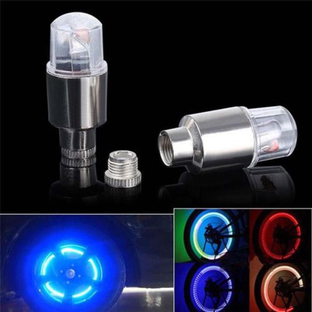 2pcs LED Bicycle  Tire Valve Stem Caps Neon Light Auto Accessories Bike Car Auto