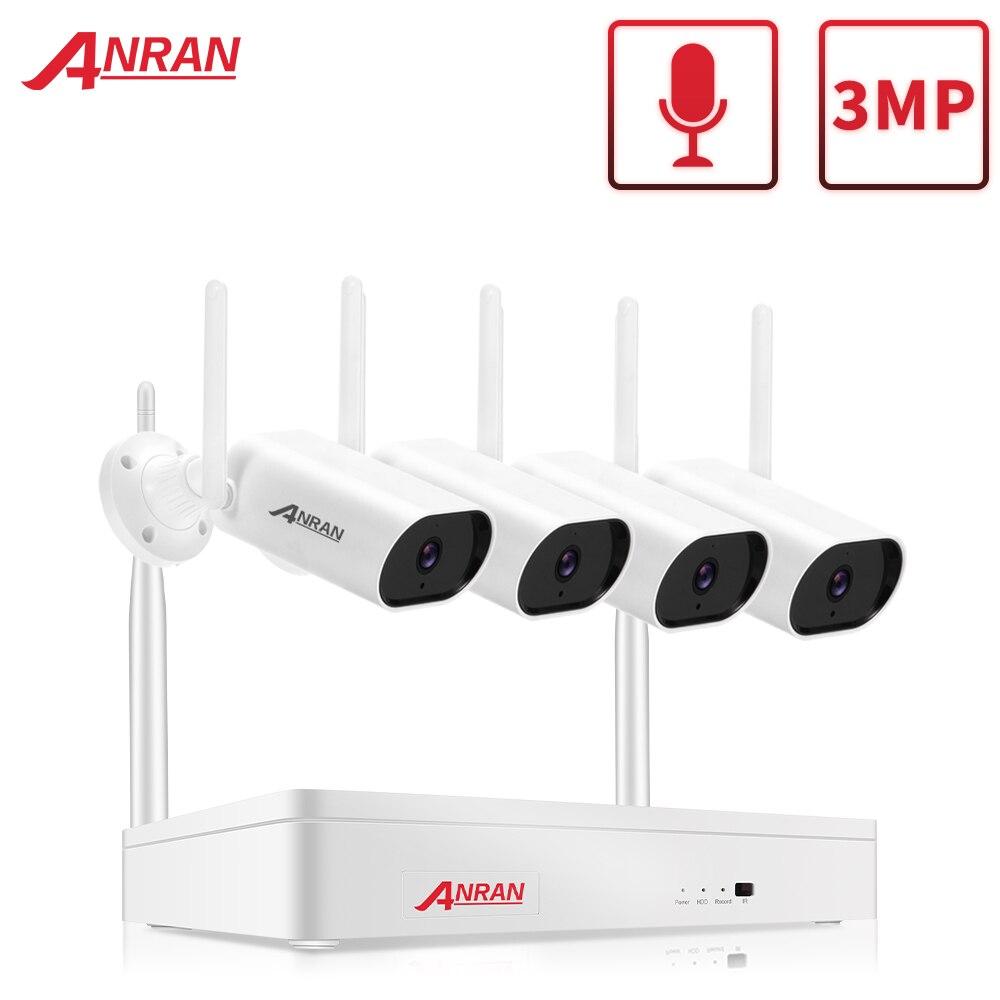 ANRAN-Kit de cámara de seguridad inalámbrica, Kit de vídeo cctv de 3MP, 4 canales, NVR, visión nocturna, sistema de cámara de vigilancia Wifi para exteriores