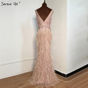 Image 2 - Ruhigen Hill Perlen V ausschnitt Luxus Abendkleider 2020 Ärmellose Federn Meerjungfrau Formale Kleid DLA70440