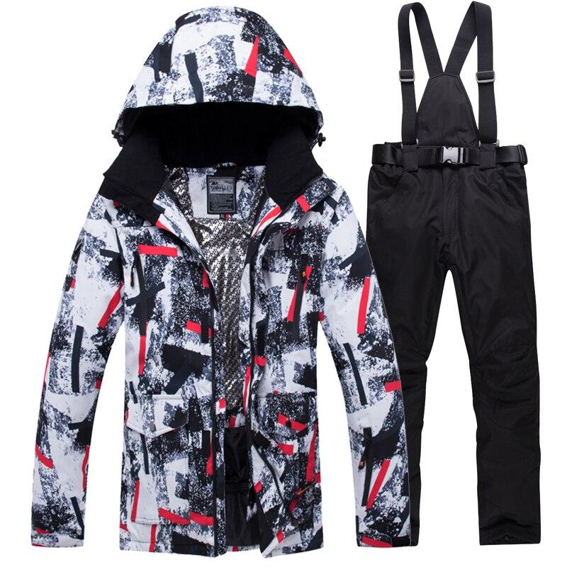 Terno de Esqui para os Homens Quente à Prova de Vento à Prova Esportes ao ar Jaquetas de Neve e Calças Equipamento de Esqui Inverno Dwaterproof Água Livre Masculino Conjuntos Snowboard 2020