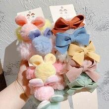 5 шт плюшевый бант Детская веревка для волос корейский конфетных