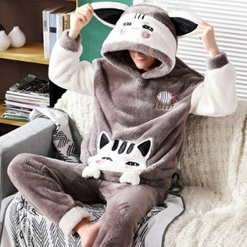 New men's autumn winter lovely coral Plush thickened flannel cartoon home clothes men's winter suit