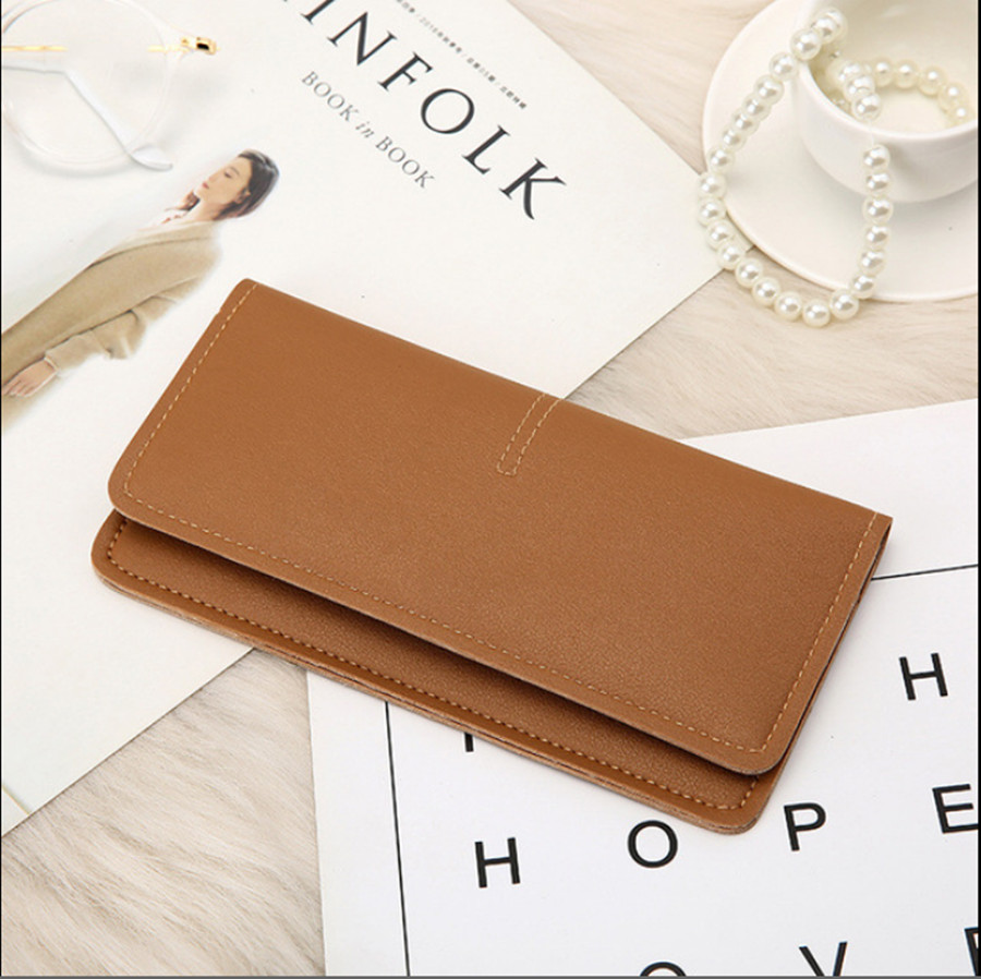 2019 Fashion Wallet Ms. Simple Open Long Wallet Clutch Bag Wallet Soft PU Leather Money Bag