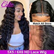 Волосы Celie, Свободный парик с глубокой волной, 5 Х5, 6 х6 дюймов, парик с прозрачной застежкой для черных женщин, парики из человеческих волос на...