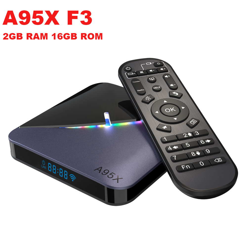 A95X F3 Android 9.0 Smart TV Box Amlogic S905X3 <font><b>2GB</b></font> RAM 16GB ROM 5G WIFI bluetooth 4.0 4K RGB Light Set Top Box image