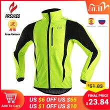 ARSUXEO Chaqueta térmica de lana para ciclismo, ropa para ciclismo de montaña o carretera, a prueba de viento, impermeable, Jersey largo